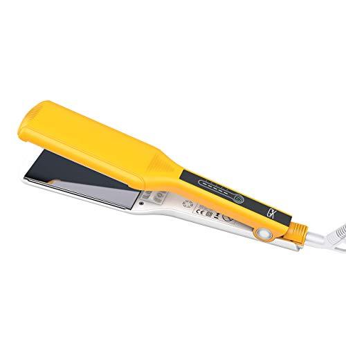 Global Keratin One Control Planchas planas de titanio extra grandes con control de un botón con ajuste de espesor para suavizar el