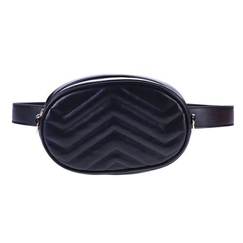 BJHSYNDR Bolsa de 20 x 8 x 14 cm, para mujer, bolsa de cintura redonda, marca de lujo, color negro