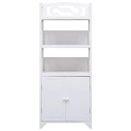 Cikonielf Badezimmerschrank auf Fuß, Nachttisch, Eckschrank mit 3 Fächern und 2 Türen, 46 x 24 x 116 cm, Weiß