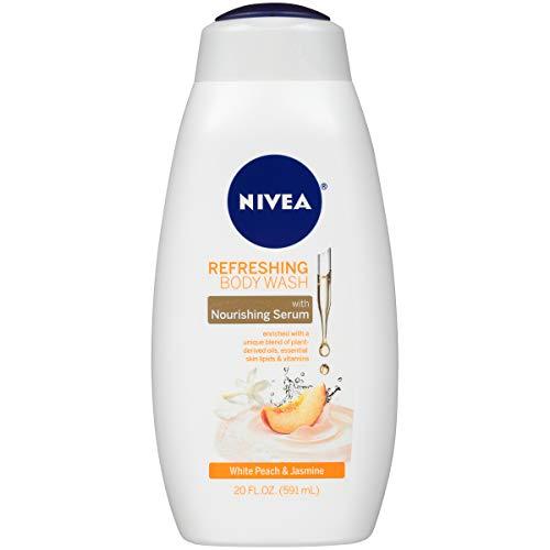 NIVEA White Peach and Jasmine Body Wash with Nourishing Serum, 20 Fl Oz