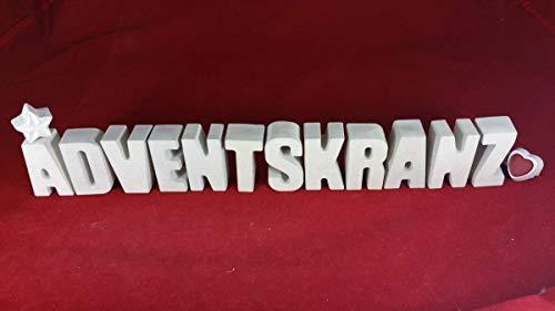 Beton, Steinguss Buchstaben 3 D Deko Schriftzug ADVENTSKRANZ mit Stern und Herzklammer als Geschenk verpackt! Ein ausgefallenes Geschenk als Deko Schriftzug für einen schönen Platz im Home.
