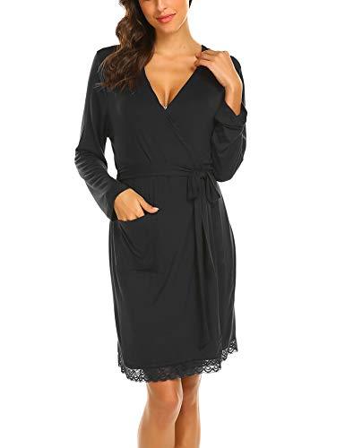 MAXMODA Damen Bademantel Kimono Kurz Robe Bademantel Nachtwäsche Sleepwear V Ausschnitt Still-Nachthemd für Schwangere mit Spitze&Gürte Schwarz L