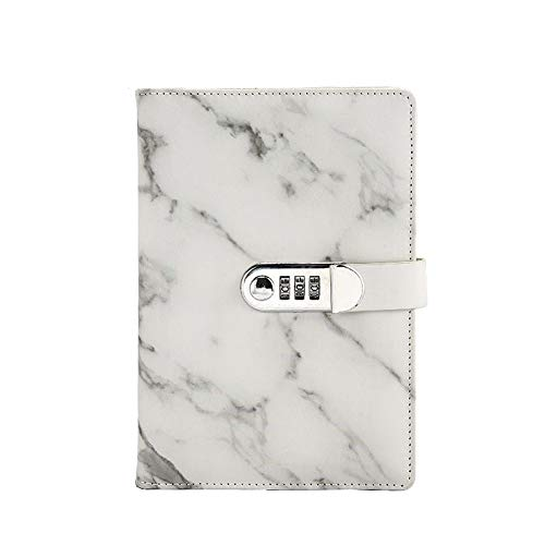 Whiidoom Marble Journal Writing Notebooks with Combination Lock Personal Travel Diary Office Notepad (Black)