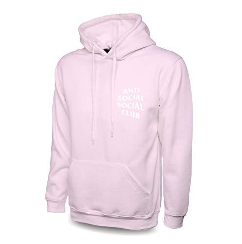 Felpa con cappuccio anti-sociale di qualità ispirata al club sociale rosa M
