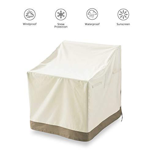 Lumaland Abdeckung für Adirondack Patio Stühle 86,4 x 81,3 x 91,4 cm robuste Schutzhülle für Gartenmöbel Oxford 600D 280 g/m² Wasserdicht Witterungsbeständig Winterfest in Beige