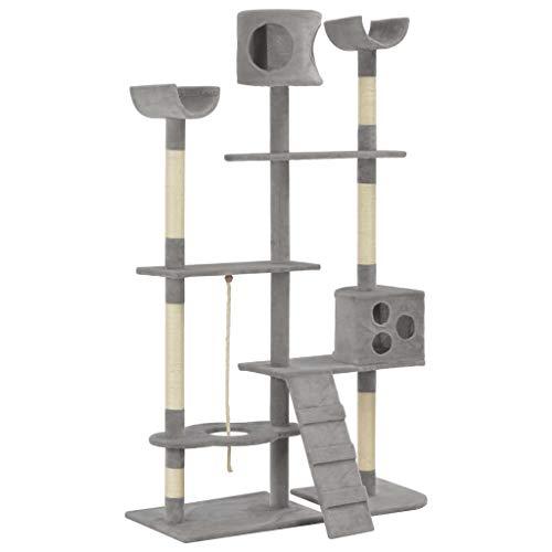 UnfadeMemory Árbol para Gatos de Pared,Rascador para Gatos con 2 Refugios,Plataformas de Observación y 1 Escalera,Postes Rascadores de Sisal 180cm (Gris)
