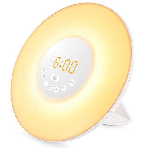 Réveil Lumière,Elfeland 7 Couleurs Eveil Lumière Veilleuse LED...