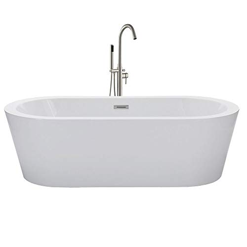 WOODBRIDGE 67' Acrylic Freestanding Bathtub Contemporary Soaking Tub with Brushed Nickel Overflow and Drain, B-0002 / BTA1504