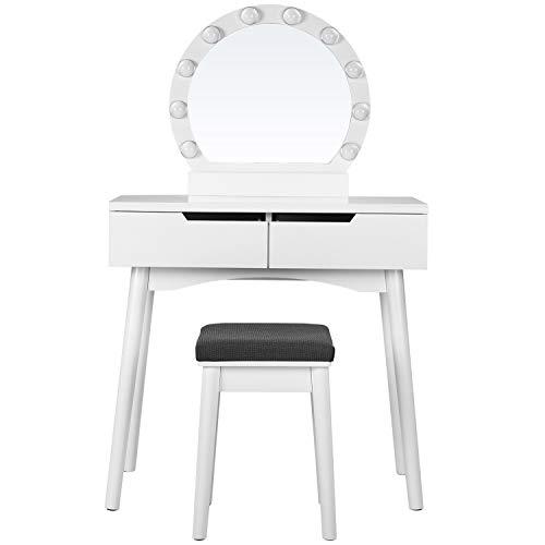 VASAGLE Schminktisch Set mit Spiegel und Leuchtmittel für Make-up, Hocker gepolstert und 2 große Schubladen für Schlafzimmer, Weiß RDT011W03
