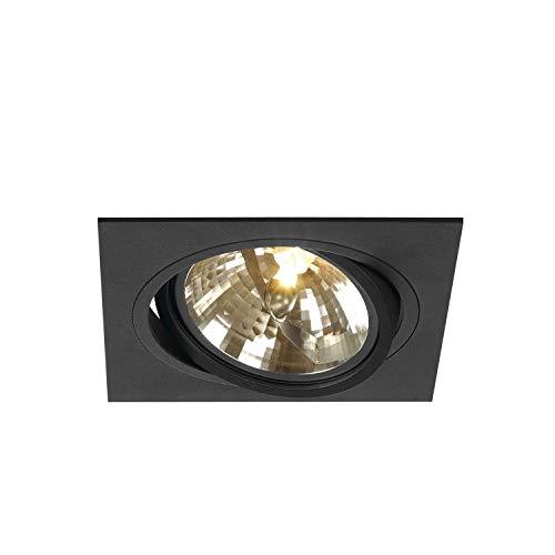 SLV Deckeneinbauleuchte NEW TRIA 1 / Spot, Fluter, Deckenstrahler, Deckenleuchte, Einbau-Leuchte LED, Innen-Beleuchtung / G53 75.0W schwarz