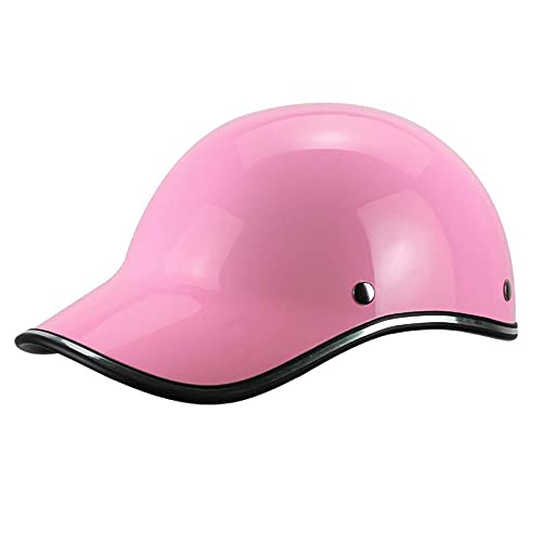 Motorbike Half Helmet Adult Leather Open Face Helmets DOT Approved Light Baseball Retro Cap Personality Cycling For Men Women Good Choice For Outdoor Sports,Pink,55-62cm (21. 6