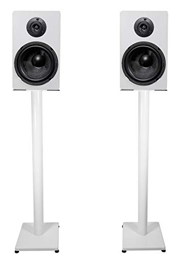 Affordable Pair Rockville RockShelf 68W White 6.5 Home Bookshelf Speakers w/37 Stands