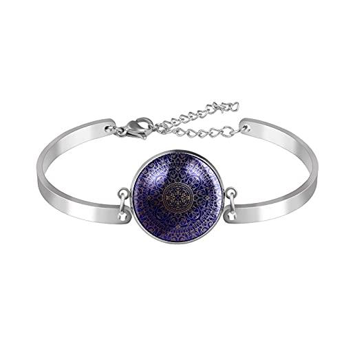 Pulsera, brazalete de acero inoxidable brazalete de regalo de joyería puño pulido estilo de caja de regalo de moda Mandala oriental azul y oro Hippie para hombres mujeres