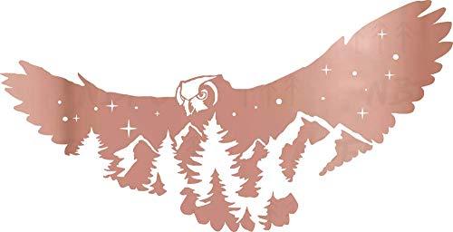NBFU Decals Mountain Scene Owl Wildlife Pine Tree 1 (Rose Gold) (Set of 2) Premium Waterproof Vinyl Decal Stickers Laptop Phone Accessory Helmet Car Window Bumper Mug Tuber Cup Door Wall Decoration