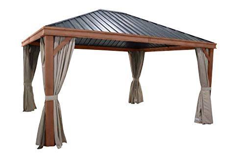 Leco 4er-Set Hardtoppavillon Seitenteile, Natur
