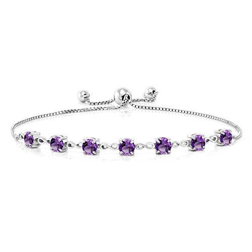 Gem Stone King 925 Sterling Silver Purple Amethyst Adjustable Bracelet For Women (2.31 Ct Round, Gemstone Birthstone)