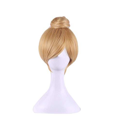 Perruque Charme Naturel Femmes Perruques Perruques avec Frange Partie Résistant À La Chaleur Cheveux Femmes Princesse Chapeaux Doré Boulette De Viande Tête