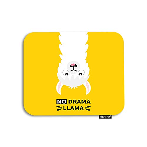 Moslion Llama Mouse Pad Cute Animal White Alpaca with Word No Drama Llama Gaming Mouse Pad Rubber Large Mousepad for Computer Desk Laptop Office Work 7.9x9.5 Inch Yellow