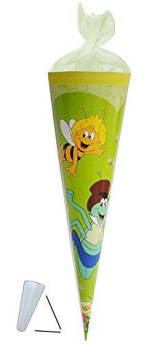 alles-meine.de GmbH Schultüte - Biene Maja 35 cm - mit / ohne Kunststoff Spitze - Tüllabschluß - Zuckertüte für Mädchen Jungen Bienen Honig Willi Flip