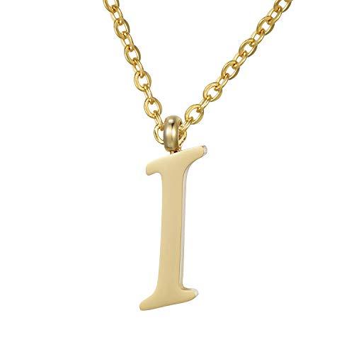 Morella Collar de Oro y Acero Inoxidable con Colgante Letra I