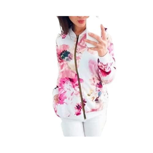 Las mujeres Chaquetas Retro Floral Impreso Señoras Cremallera Hasta Bomber Outwear