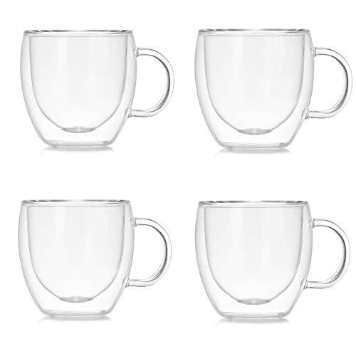 Marooma Glas-Kaffeetassen, 150 ml, doppelwandig, isoliert, Thermoglas, hitzebeständig, Borosilikatgläser, Becher mit Griff für Kaffee, Tee, Espresso, Bier – 4er-Set