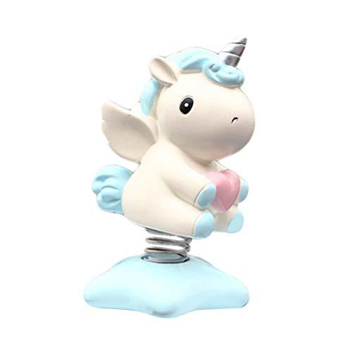 Amosfun Schüttelnder Kopf, Einhorn-Figur, Spielzeug, Auto-Armaturenbrett-Ornament, dekoratives Spielzeug, Auto-Verzierung, Zubehör (himmelblau)