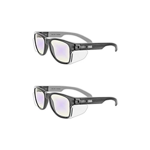 MAGID Y50BKAFBLA Iconic Y50 Design Series Safety Glasses with Side Shields | ANSI Z87+ Performance, Scratch & Fog Resistant, Reduce Eye Strain & Fatigue, Clear Blue Light Blocking Lens (2 Pair)