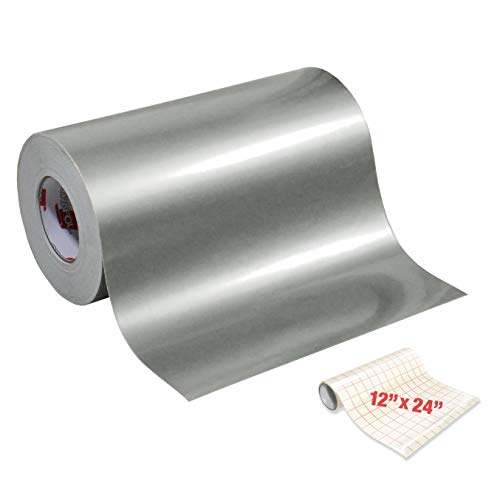 ORACAL 651 Gloss Silver Metallic Adhesive Craft Vinyl 12 Inch x 6 Foot Including Roll of Clear Transfer Paper
