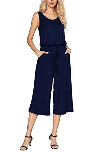 Euovmy Women's Summer Solid Elastic Waist Casual Loose Sleeveless Jumpsuit Rompers with Pockets Navy Blue Large