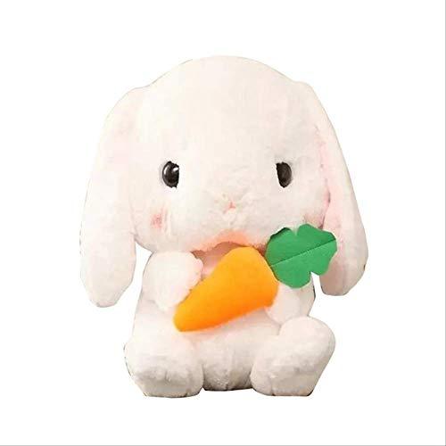 qwerbz Plüschtiere Langohr Karotte Kaninchen Plüschtier Hase Kissen Plüsch Puppe Grab Für Geburtstagsgeschenke Freund Kinder Weiß