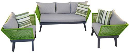 Jet-line Gartenset Loungemöbel Cuba grün Exklusive Garten Lounge Möbel Seilwicklung Sofa Sessel Top Qualität
