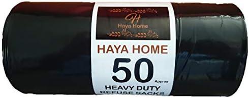 Haya Home 50 Black Plastic Bin Bags Heavy Duty Bin Liners, Refuse Sacks Pack of 50 X 1 Heavy Duty Waste Dustbin Bags...