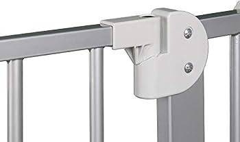 ib style- Berrin Barrière de sécurité 75-175 cm   Auto-Close   90°Arrêt   utilisation à une main Blanc-gris 150-160cm
