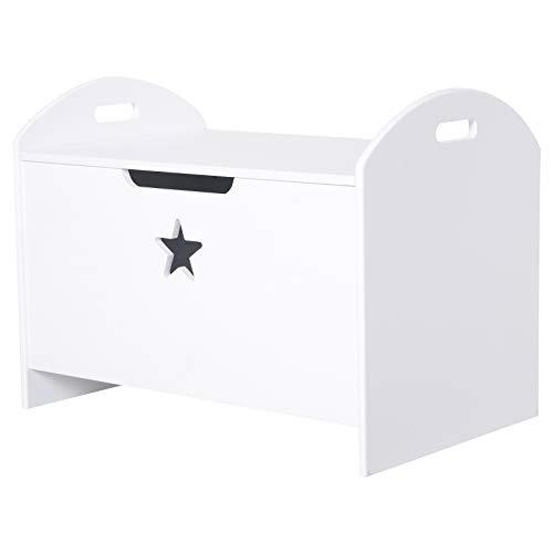 HOMCOM Spielzeugkiste Kinder Aufbewahrungsbox Sitztruhe Sicherheitsscharnier Weiß MDF 62 x 40 x 46,5 cm