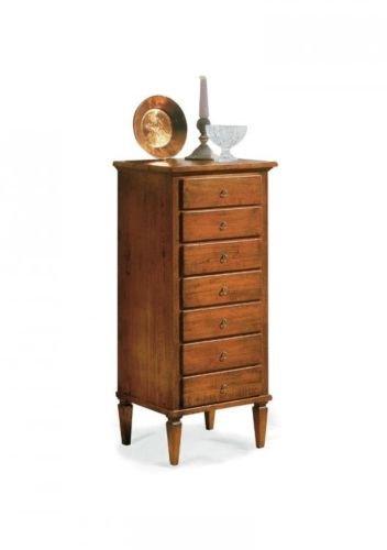 Commode en bois 7 tiroirs couleur noyer brillant classique et moderne