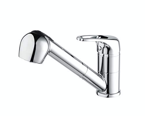 Bristan PEA PULLSNK C Pear Kitchen Sink Mixer Tap with Pull Out Hose and Spray Function, Chrome