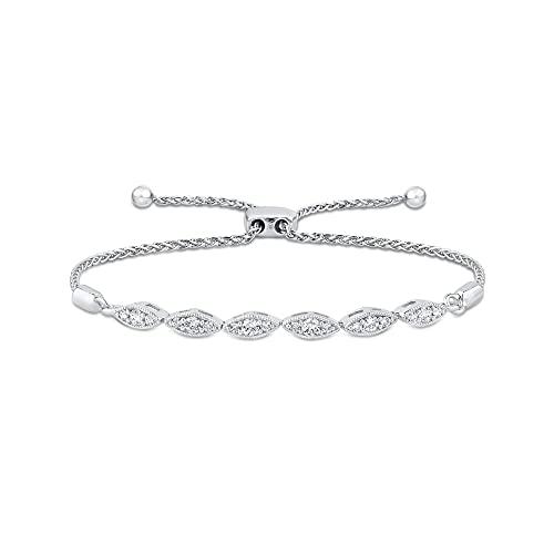 KATARINA Pulsera Bolo ajustable de diamantes en plata de ley (1/3 cttw, I-J, I1)