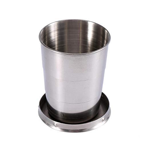 Faltbecher 240ml / 140ml / 75ml Edelstahl Teleskopbecher Schlüsselanhänger Weinglas Premium Stapelbar Trinken Outdoor Teleskop Campingflasche Faltbarer Wasserbehälter (L)