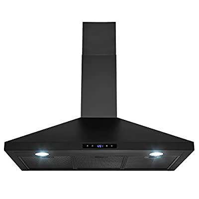 Golden Vantage Wall Mount Black Painted Stainless Steel Kitchen Range Hood with Touch Panel and LED lights