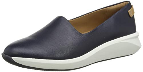 Clarks Un Rio Step, Zapatillas sin Cordones Mujer, Azul (Navy Leather Navy Leather), 37 EU