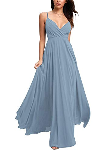 V-Neck Bridesmaid Dresses Long Spaghetti Chiffon Ruched Prom Gowns for Juniors Evening Dusty Blue 14