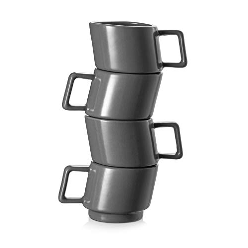 DOWAN Espresso Coffee Cups , Ceramic Demitasse Cups Set of 4, Stackable Espresso Mugs for Coffee, Latte, Cafe Mocha, Ideal Fit for Espresso Machine and Coffee Maker, Matte Grey, 2.5 oz (70mL)