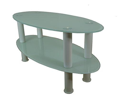 Mountright Ovaal glas salontafel - bijzettafel - TV standaard (wit glas - witte benen)