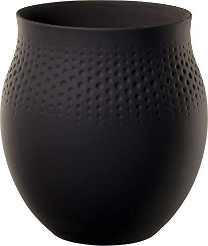 Villeroy & Boch Collier Noir Jarrón Perle No. 1, Porcelana, Negro, Grande