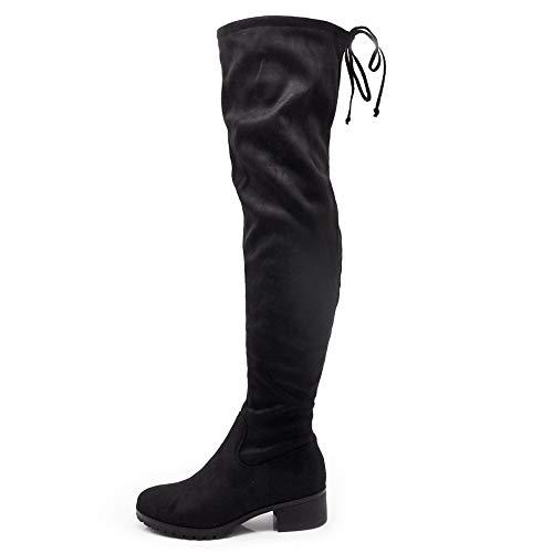 IF Fashion Stivali da Donna Scamosciati Alti sopra Ginocchio Lacci Tacco 3.5cm G503 Nero N.39