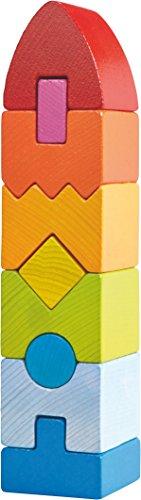 HABA 301690 - Stapelspiel Regenbogen-Hochhaus   Holzspielzeug ab 12 Monaten   Turm aus 9 Holzbausteinen in Regenbogenfarben