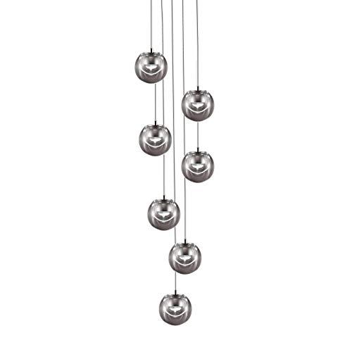 Dew - Lampadario a 7 LED, Transparent/Baldachin Quadratisch 22x22cm, 3500lm/2700K/CRI80/Abhängung H 250cm/dimmbar Phas