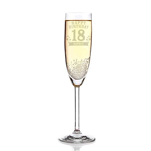 Leonardo Sektglas mit Wunschname zum 18. Geburtstag inkl. Gratis Gravur