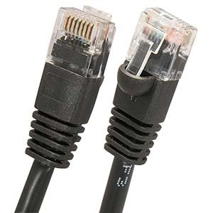 Arrowmounts AM-Cat5e-508BK 25' Cat5e RJ45 Ethernet LAN Network Patch Cable, Booted Snagless, Black